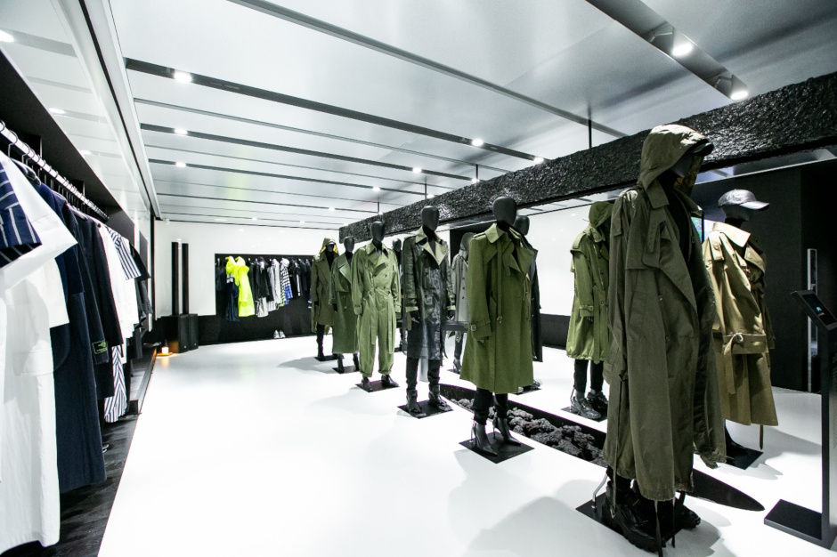 The first floor's central aisle features an array of trench coats along with Juun.J womenswear that has been part of the brand's line-up since 2017.