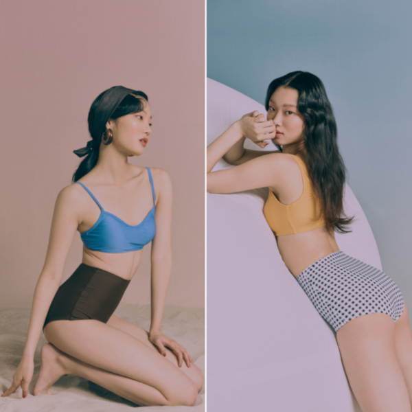 Left: 8seconds 19SS Solid Basic Bikini - Royal Blue; Right: 8seconds 19SS Tube Square Neck Bikini - Yellow and 19SS Gingham Check High Waist Swim Pants - Black.