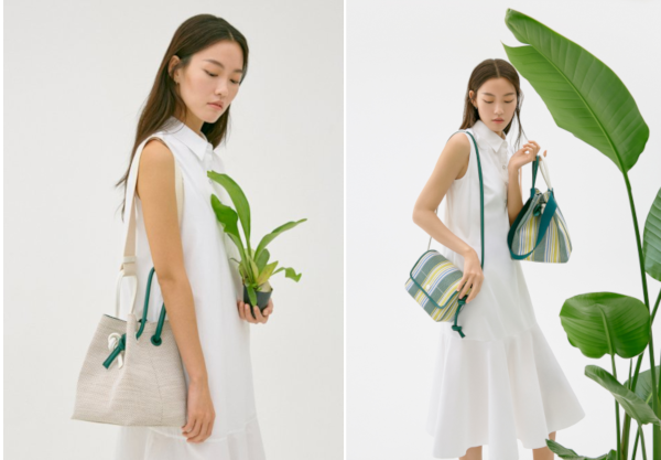 Left: Beanpole Accessory 19SS Foret solid bucket bag; Right below: 19SS Beanpole Accessory FORET Striped Crossbody Bag; Right above: FORET Striped Bucket Bag.