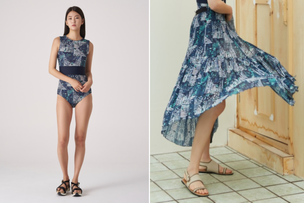 Left: KUHO 19SS Botanical Pattern One-piece Swimsuit; Right: KUHO 19SS Botanical Pattern Long Pleats Skirt.
