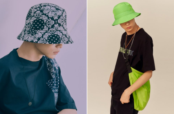 Left: 9seconds 19SS Paisley Bucket Hat; Right: 8seconds 19SS Color Contrast Point Strap Eco Bag.