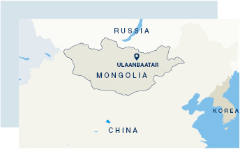 The location of Ulaanbaatar on a map of Mongolia.