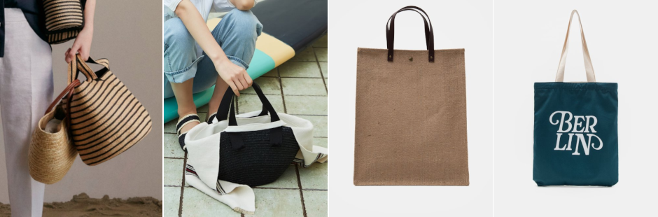 Far LEft: LEBEIGE 19SS Stripe Basket Straw Tote Bag; Left: KUHO 19SS CATARZI Raffia Linen Layered Tote Bag; Right: 8seconds 19SS Yellowish Brown Linen Square Tote Bag; Far Right: 8seconds 19SS Lettering Printing Eco Bag.