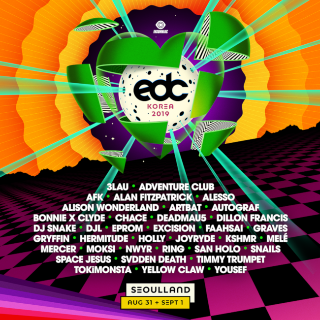 2019 EDC lineup. Source: Electric Daisy Carnival web site