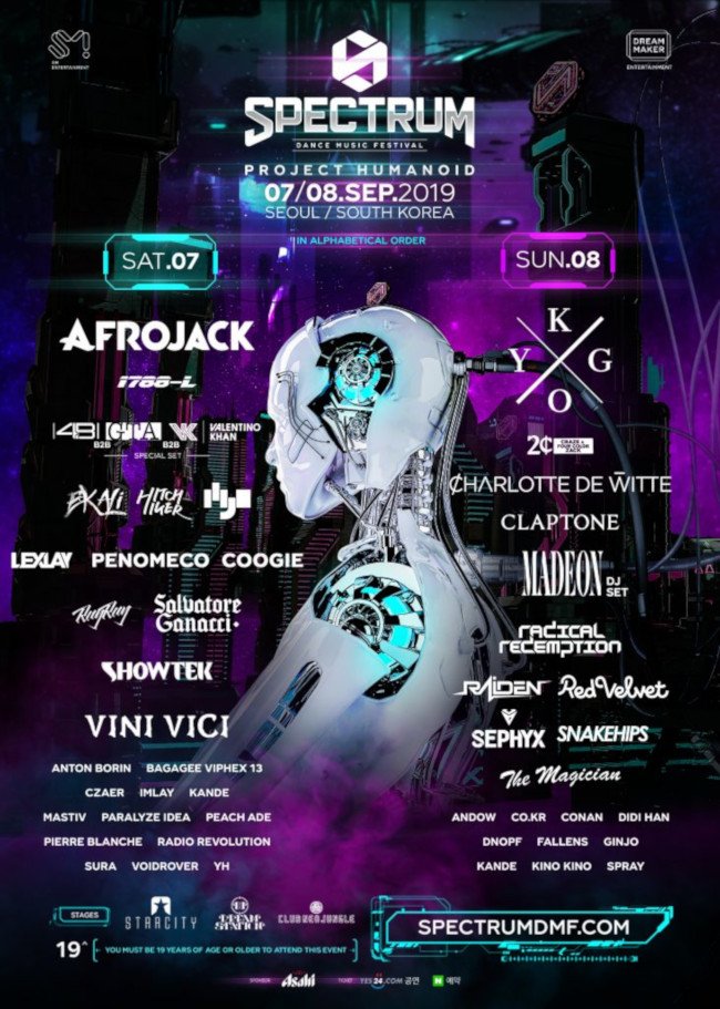 2019 Spectrum Dance Music Festival lineup. Source: Spectrum Dance Music Festival web site.