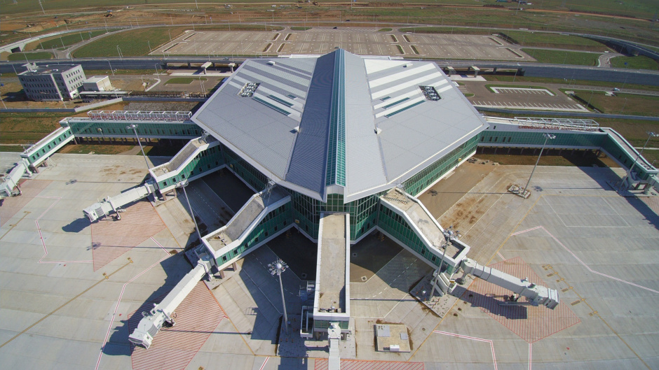 An aerial view of the almost-completed New Ulaanbaatar International Airport.