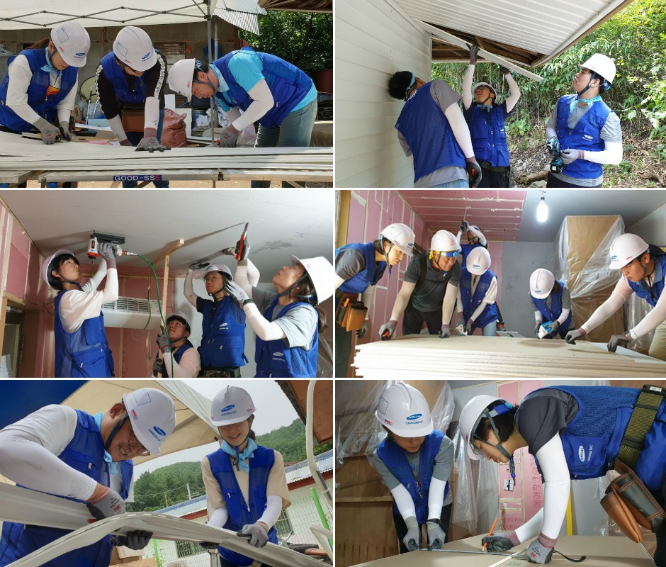 Samsung C&T volunteers carry out various exterior and interior renovation tasks.