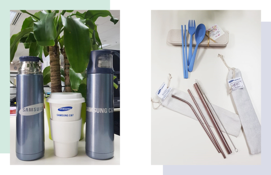 Metal straws, reusable cutlery and tumblers all help reduce waste in the office.