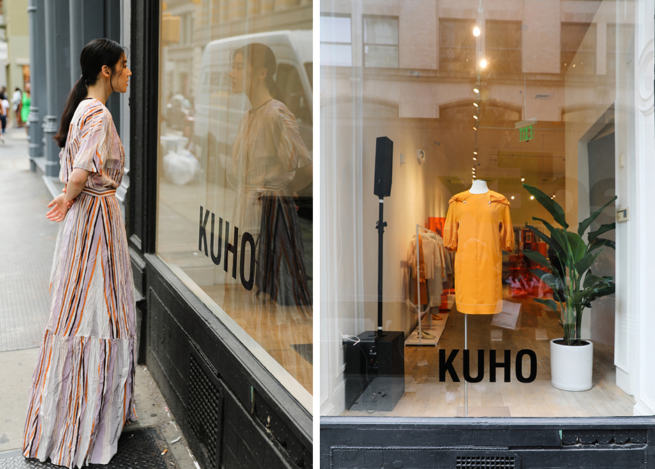 KUHO's 2020 S/S collection includes a unique, multi-stripe pattern that combines with a rustling material to produce a rich silhouette.