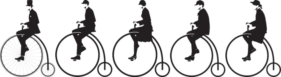 The penny-farthing is recognizable as Beanpole's classic logo, but there are several new additions (left to right): Heritage, Man, Woman, Boy, and Girl.