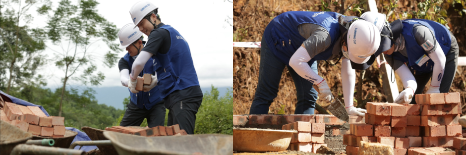 Samsung C&T volunteers help a family build their new home brick by brick.