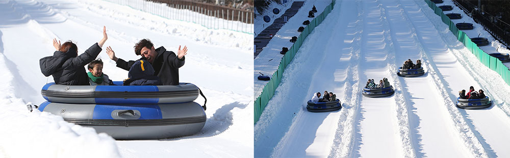 Snow Buster's Express Course runs for 200 meters and features giant tube-shaped sleds big enough for four people.