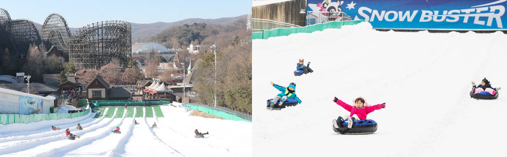 The Racing Course (left) is a fast, single-seater experience, while the Family Course (right) ensures younger sledders won't feel left out.