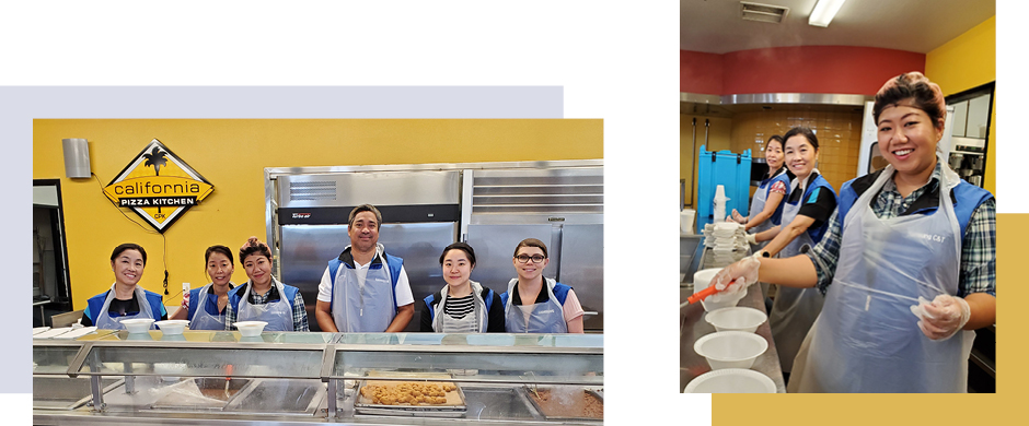 Samsung C&T Americas staff serve up lunch at a homeless shelter in LA.