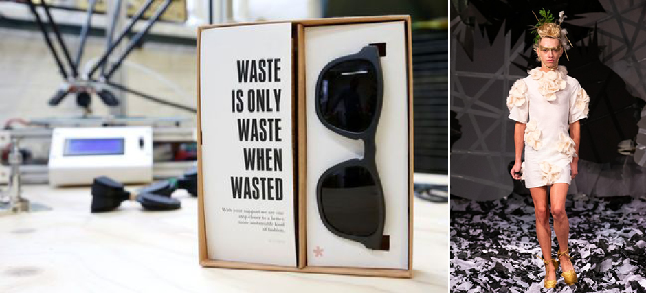 (left) 3D printed sunglasses made from plastic waste are pictured at Belgian start-up w.r.yuma in Antwerp, Belgium, August 30, 2017. / Source: REUTERS/Francois Lenoir (right) A look from Vin + Omi / Source: courtesy photo