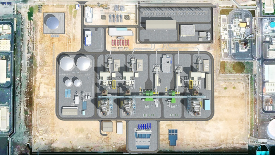 A computer rendering overlaid on a satellite view shows how the Fujairah combined cycle power plant will look when it is complete.