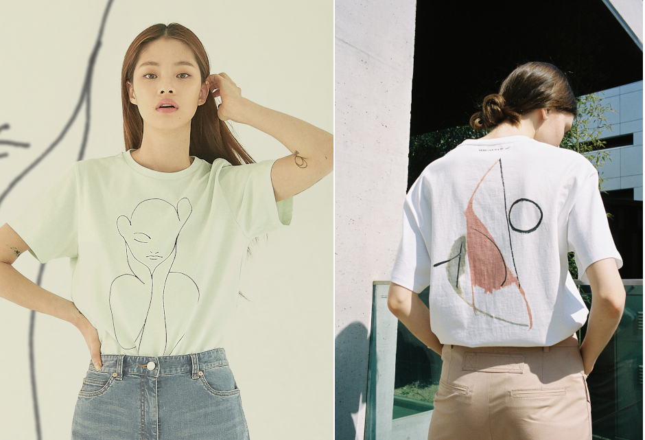 """Dreamer"" (left) and ""My Heart"" (right) by artist Kwon Chul-hwa features on these Heart for Eye t-shirt designs."