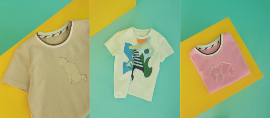 Origami animals and puzzle pieces on these KUHO Heart for Eye t-shirts invoke a whimsical feeling of childlike play.